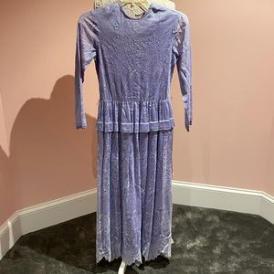 Vintage lace periwinkle 70s dress